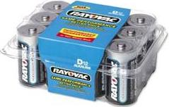 RAYOVAC D CELL ALKALINE BATTERY 12 PACK